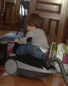 Kids are also creative. You see a vacuum, Das Big Boy sees a new ride-on toy.