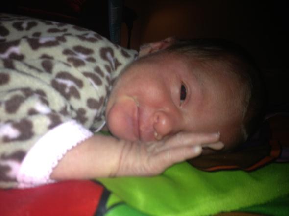 Little Liebchen rests during tummy time.