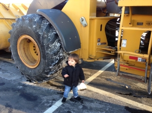 "More truck love. ""Dig, dig, dig. Dump!"" says the dump truck, according to Das Big Boy."