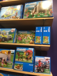 When discussing my Playmobil love yesterday, I forgot that they sometimes traffic in race and class stereotypes that make me profoundly uncomfortable. [Insert German joke here. Maybe about the Playmobil bank in which a miserly Jew counts his money in the vault...) Anyway, as you can see, only white people live in the country.