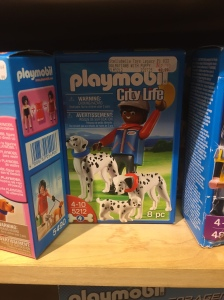 Black people in Playmobil land live in the city. [Not pictured: Playmobil cop who's about to stop and frisk this unsuspecting innocent out walking his Dalmations.]